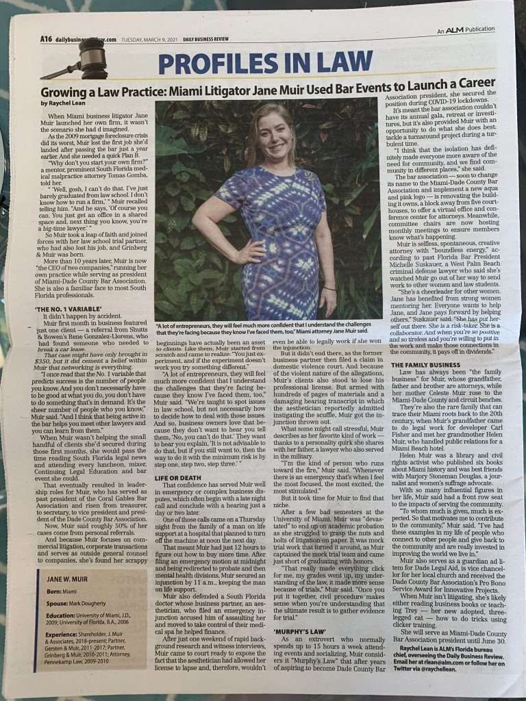 Print Edition - Profile of Jane Muir by Daily Business Review